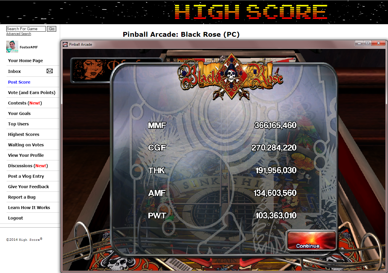 FosterAMF: Pinball Arcade: Black Rose (PC) 134,603,560 points on 2014-11-20 18:03:17