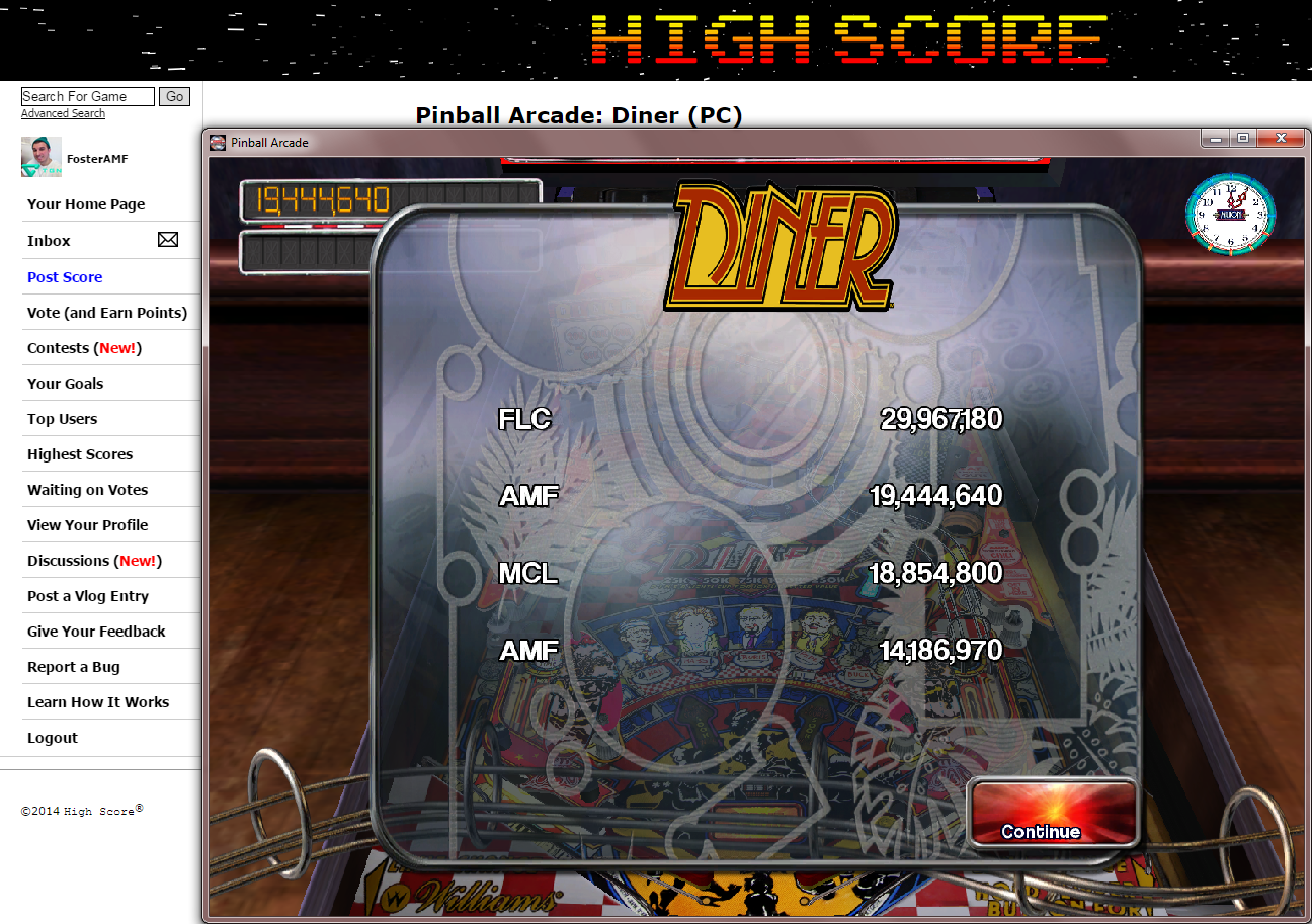 FosterAMF: Pinball Arcade: Diner (PC) 19,444,640 points on 2014-11-20 18:45:33