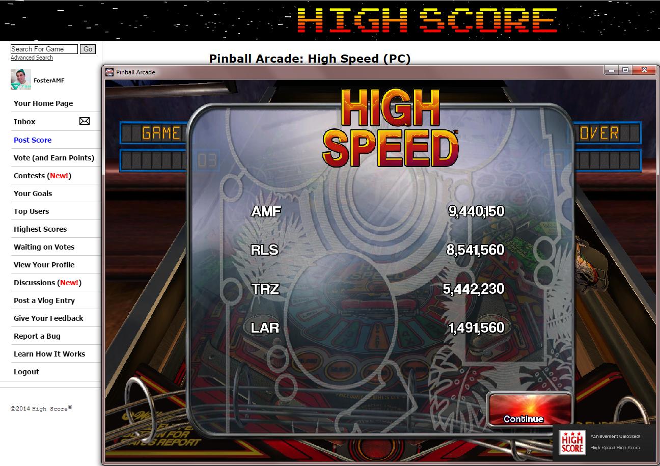 FosterAMF: Pinball Arcade: High Speed (PC) 9,440,150 points on 2014-11-20 19:01:28