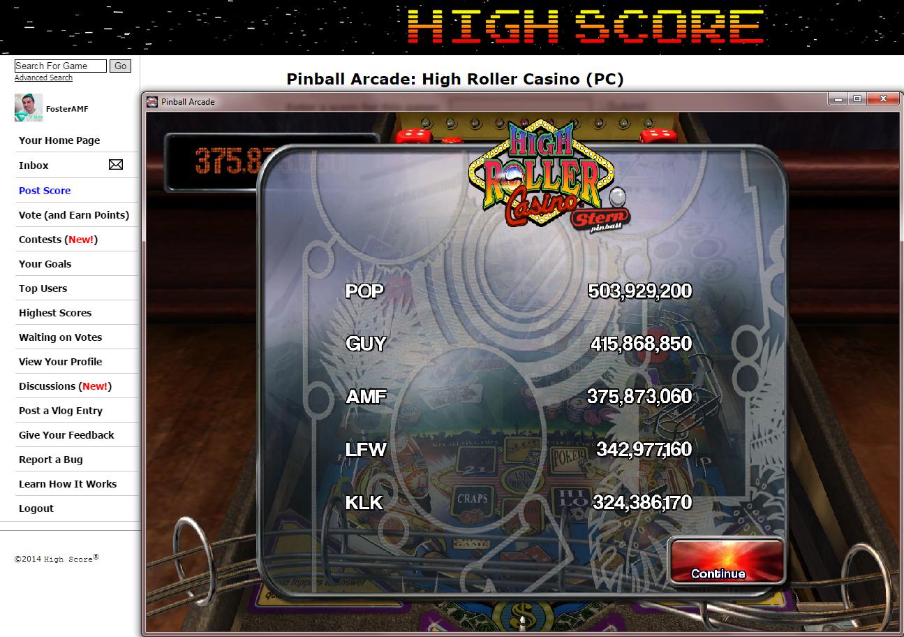FosterAMF: Pinball Arcade: High Roller Casino (PC) 375,873,060 points on 2014-11-23 02:45:17