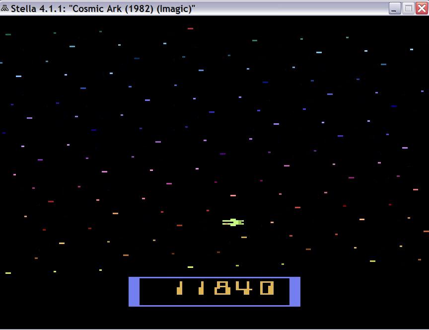 uNi73: Cosmic Ark (Atari 2600 Emulated Novice/B Mode) 11,840 points on 2014-11-23 08:42:01