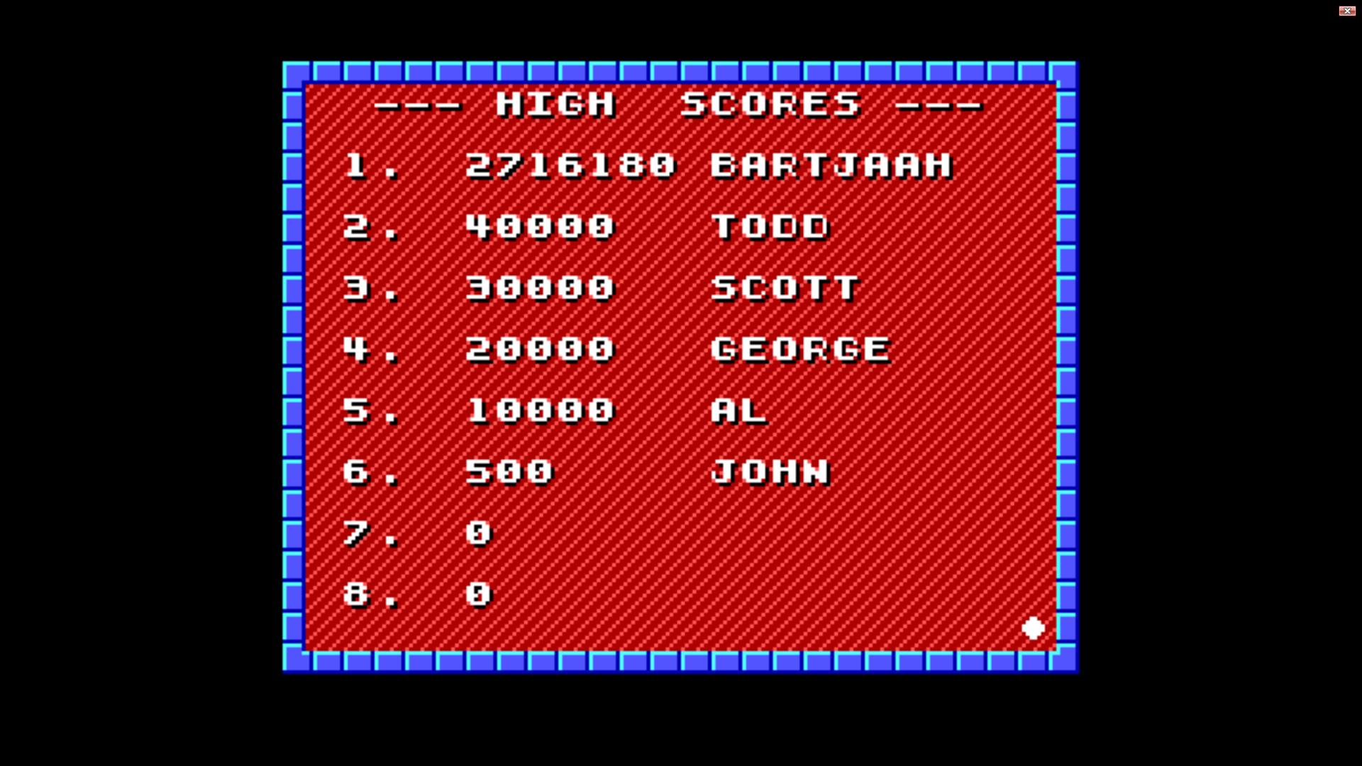 Bartjaah: Duke Nukem: Episode 2: Mission Moonbase (PC Emulated / DOSBox) 2,716,180 points on 2014-11-25 14:45:04