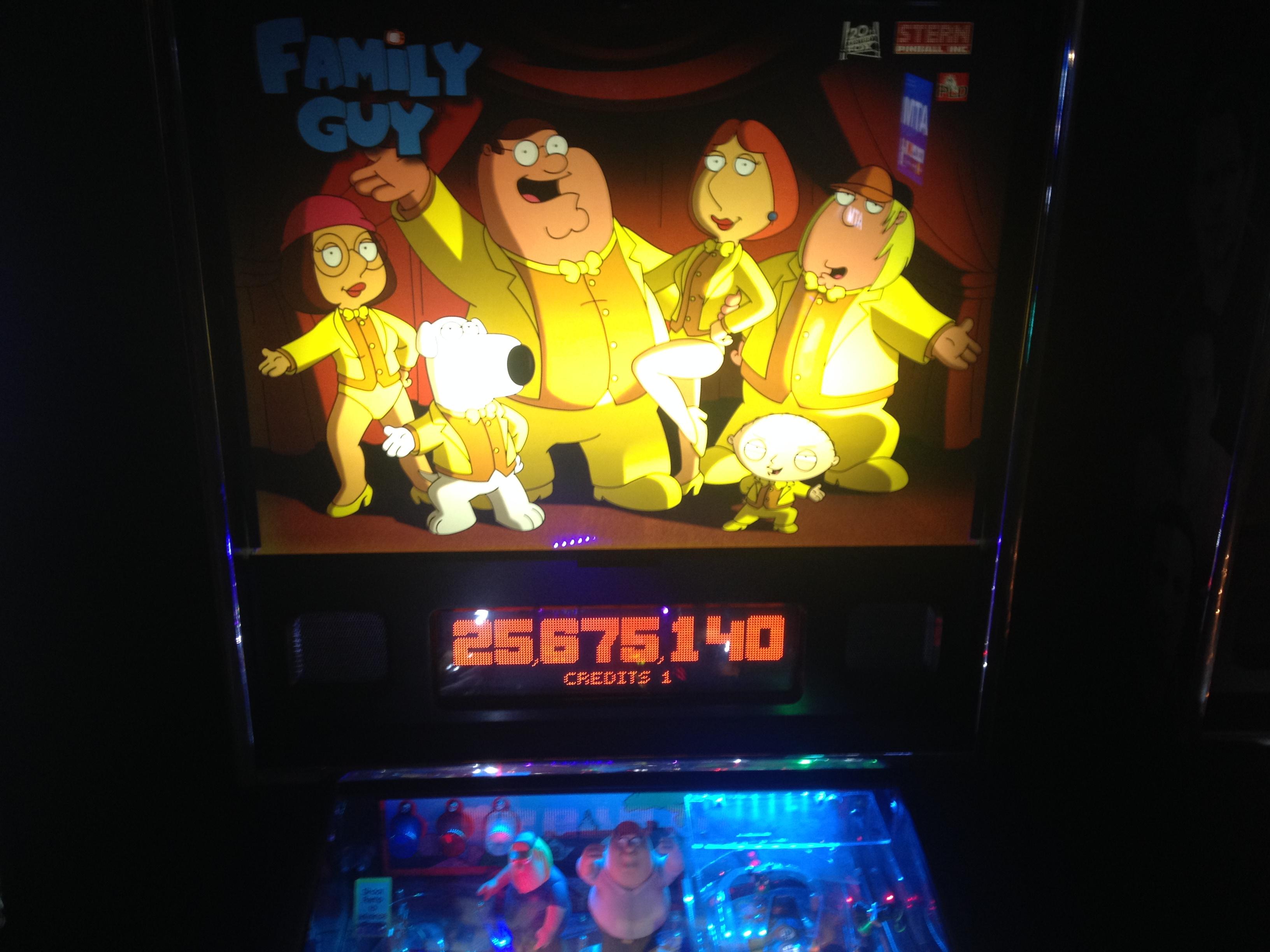 FosterAMF: Family Guy (Pinball: 3 Balls) 25,675,140 points on 2014-11-26 14:08:25
