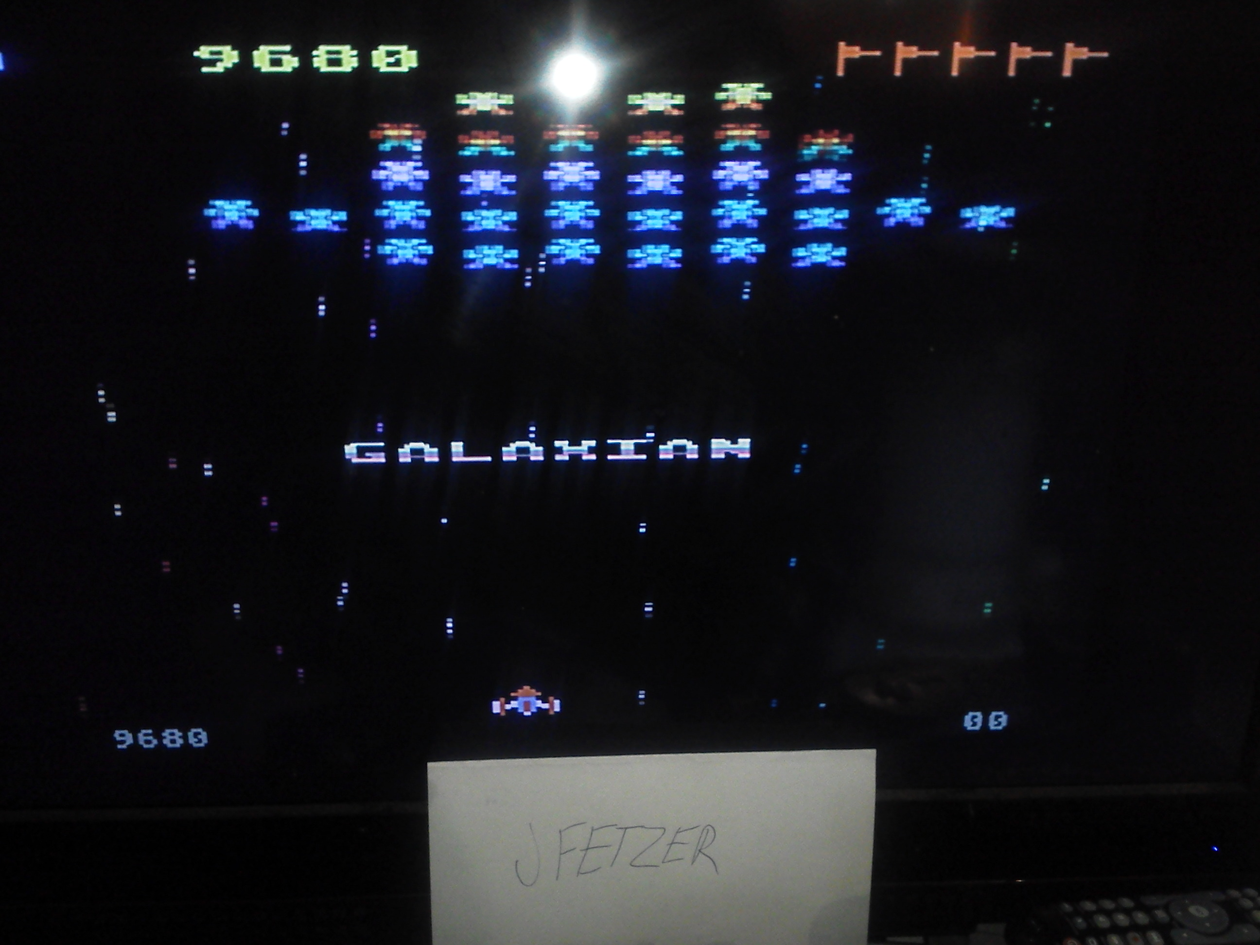 jfetzer: Galaxian: Skill Level 1 (Atari 5200 Emulated) 9,680 points on 2014-11-27 12:42:49