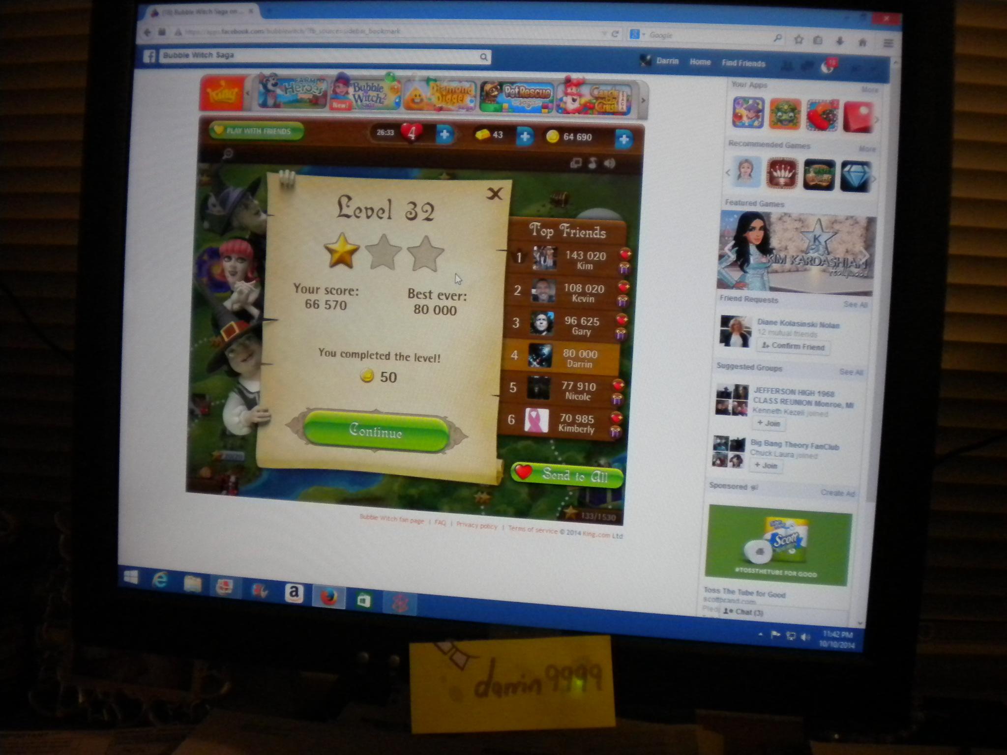 Bubble Witch Saga: Level 32 80,000 points