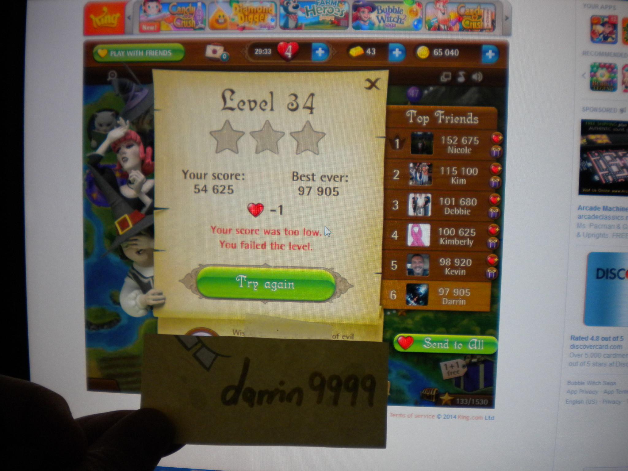 Bubble Witch Saga: Level 34 97,905 points