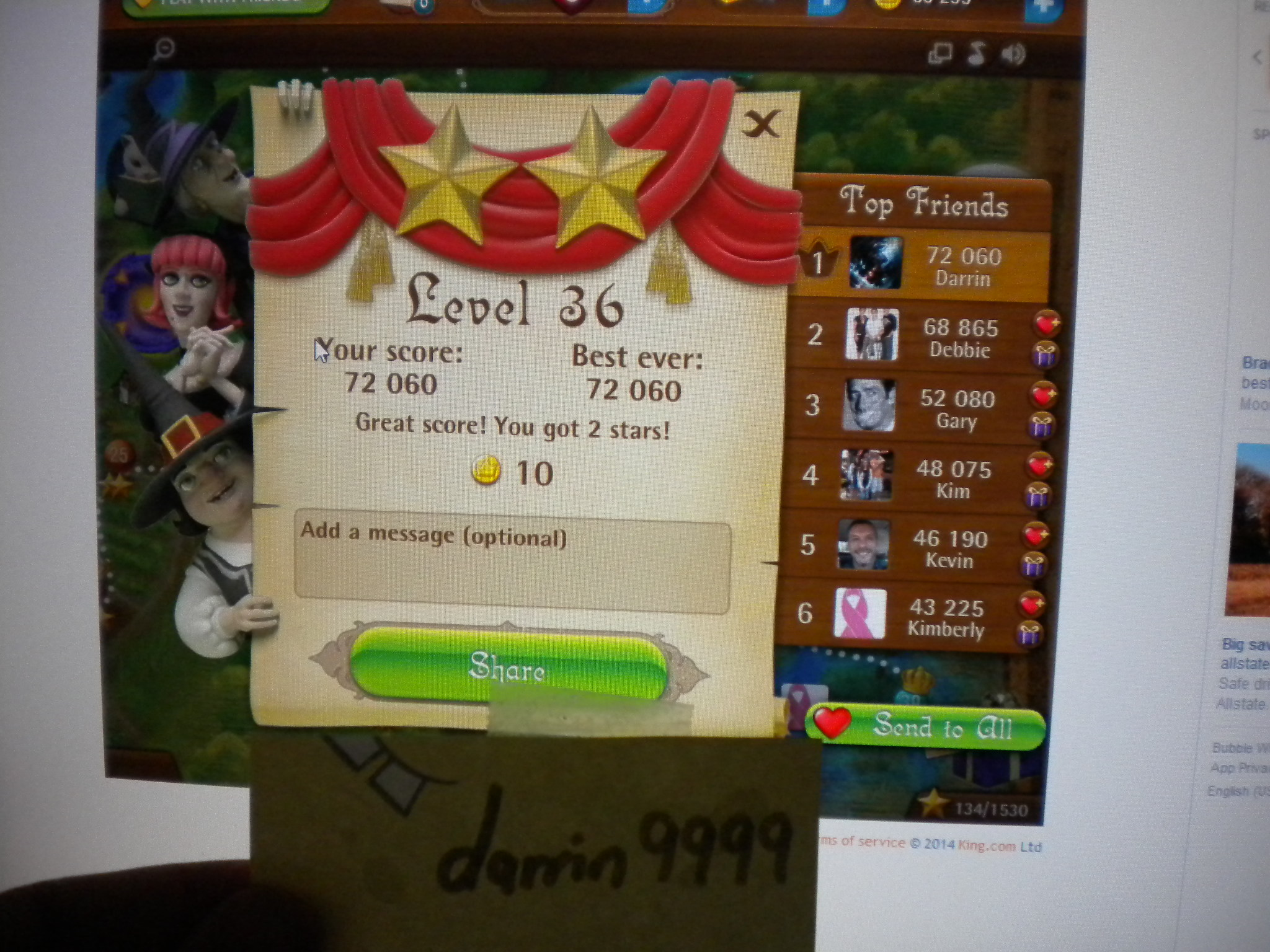 Bubble Witch Saga: Level 36 72,060 points