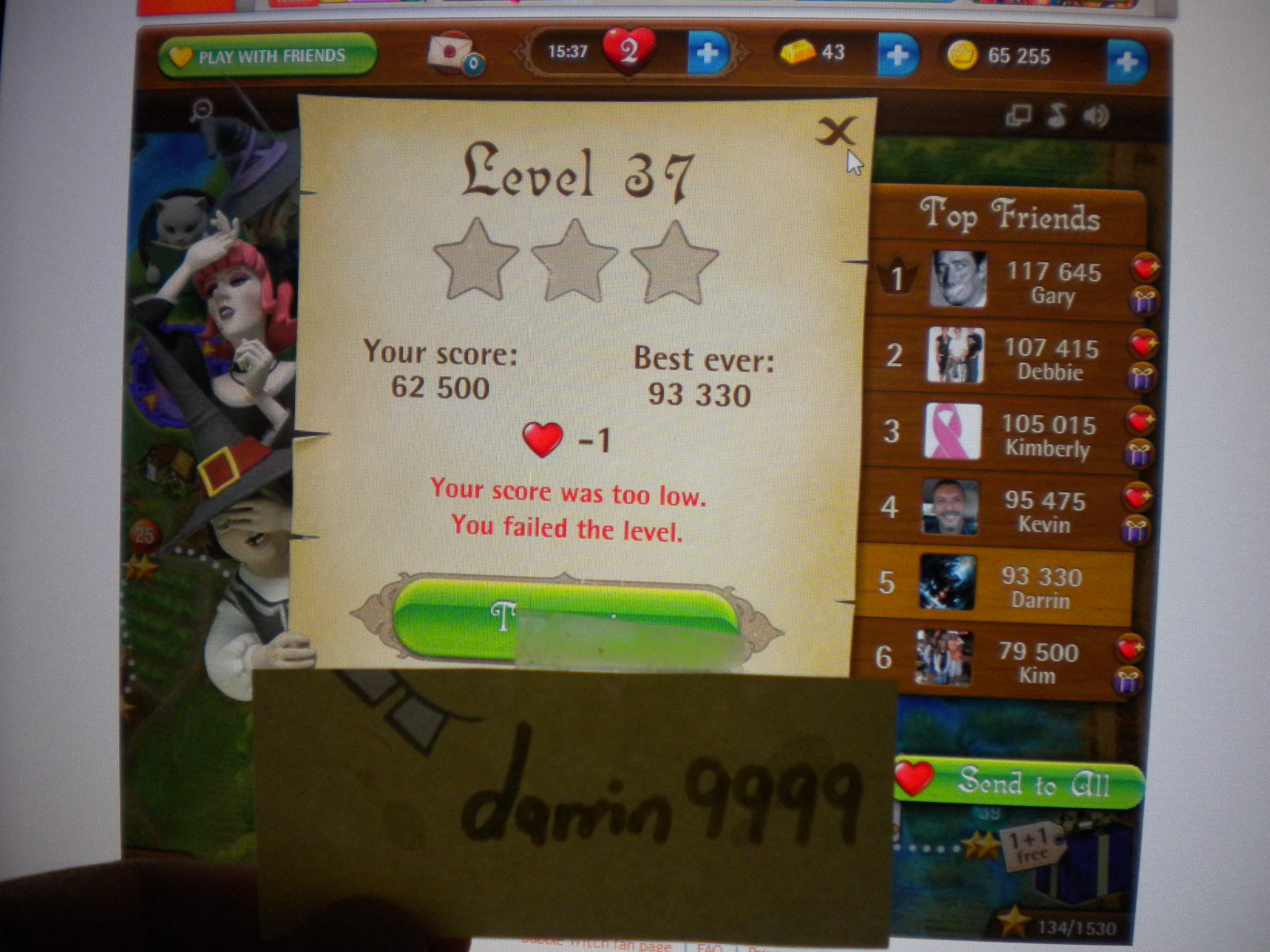 Bubble Witch Saga: Level 37 93,330 points