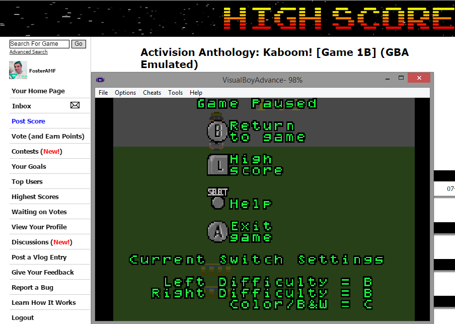 FosterAMF: Activision Anthology: Kaboom! [Game 1B] (GBA Emulated) 267 points on 2014-11-28 14:20:36