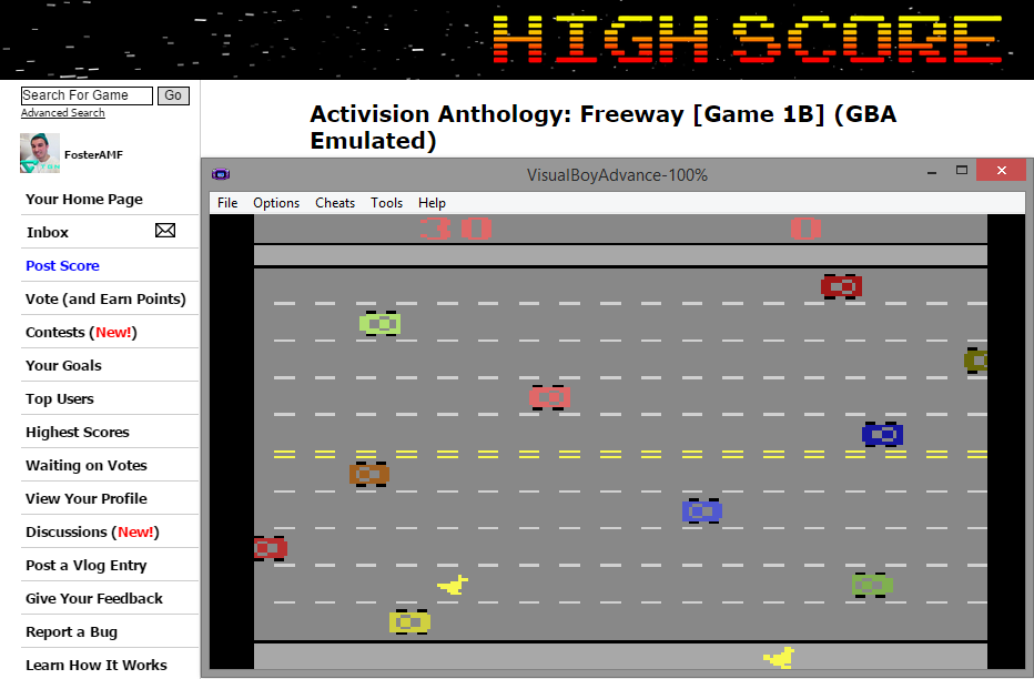 FosterAMF: Activision Anthology: Freeway [Game 1B] (GBA Emulated) 30 points on 2014-11-28 15:15:35
