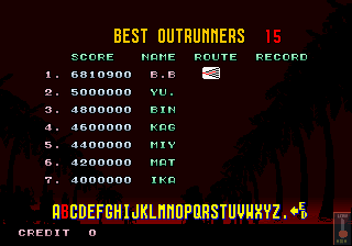 BarryBloso: Outrun (Arcade Emulated / M.A.M.E.) 6,810,900 points on 2014-11-29 03:14:27