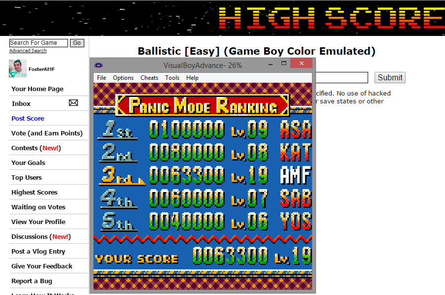 FosterAMF: Ballistic [Easy] (Game Boy Color Emulated) 63,300 points on 2014-12-02 20:06:06
