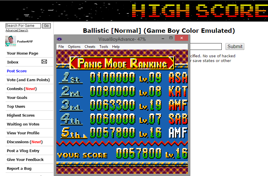 FosterAMF: Ballistic [Normal] (Game Boy Color Emulated) 57,800 points on 2014-12-02 20:12:33