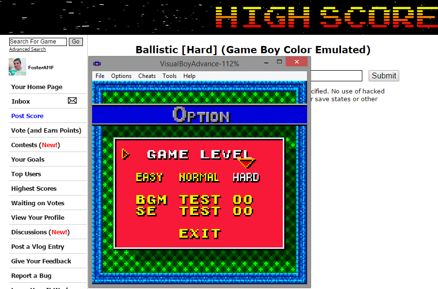 FosterAMF: Ballistic [Hard] (Game Boy Color Emulated) 43,100 points on 2014-12-02 20:19:15