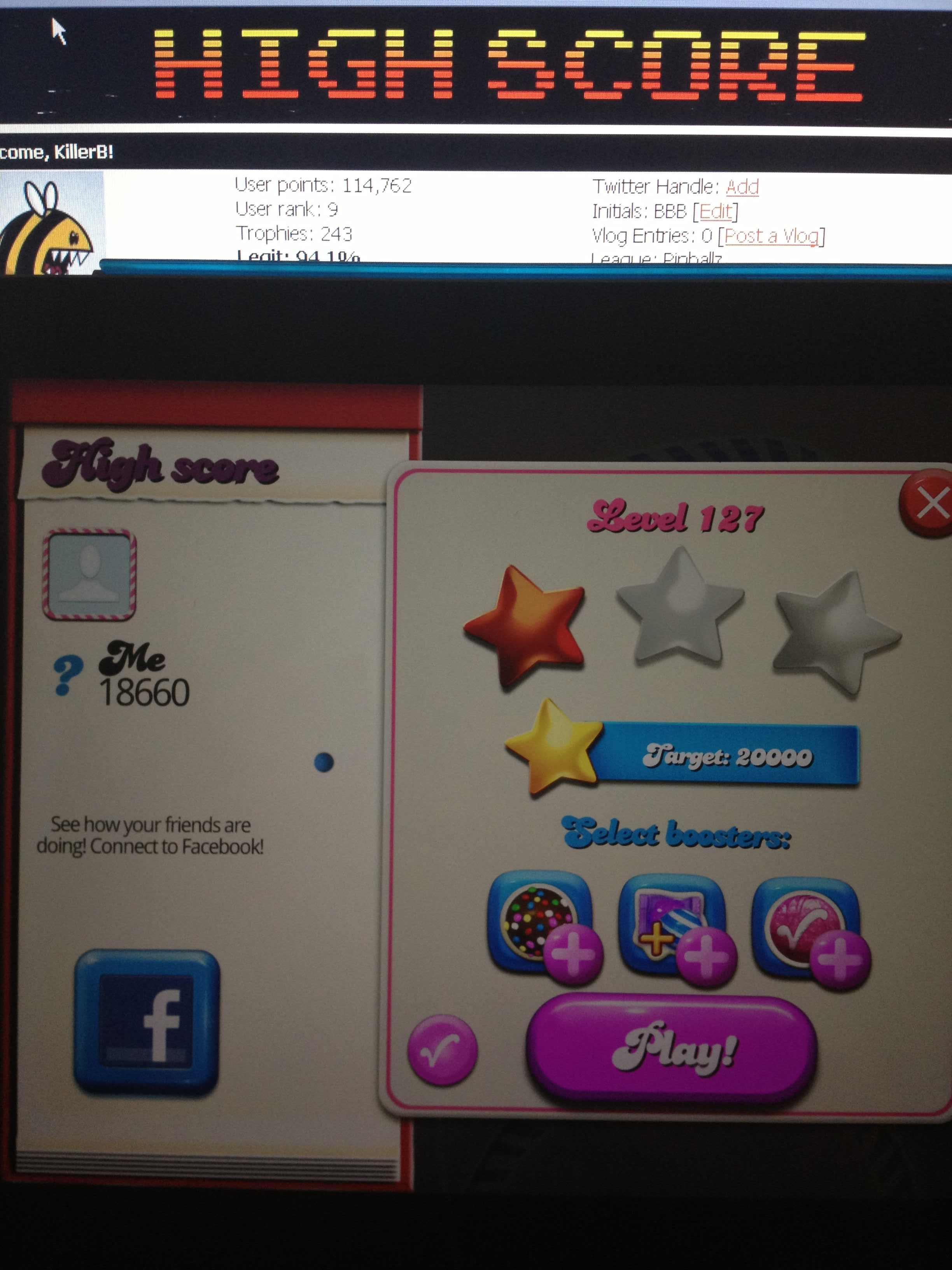 Candy Crush Saga: Level 127 18,660 points