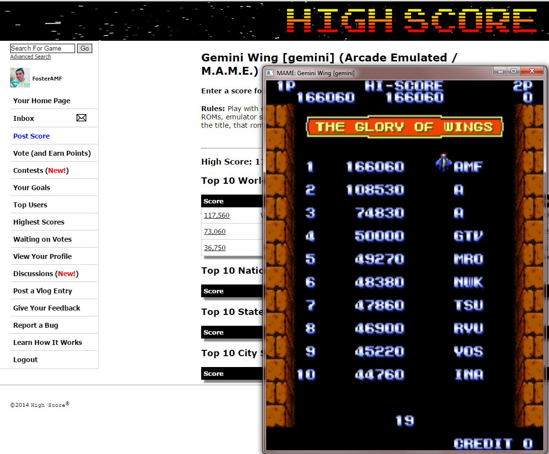 FosterAMF: Gemini Wing [gemini] (Arcade Emulated / M.A.M.E.) 166,060 points on 2014-12-03 19:17:37