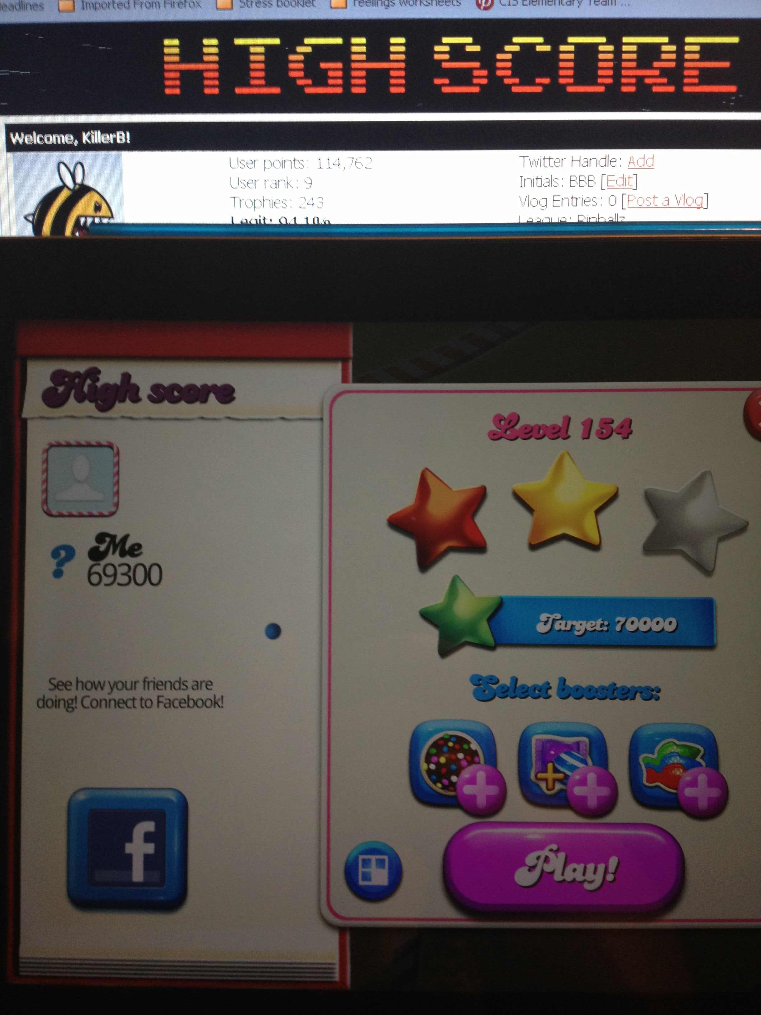 KillerB: Candy Crush Saga: Level 154 (iOS) 69,300 points on 2013-10-15 23:40:45
