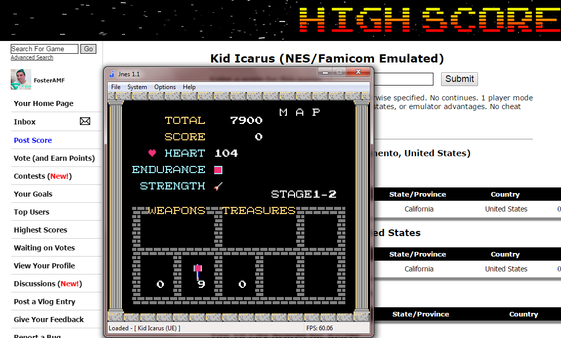 FosterAMF: Kid Icarus (NES/Famicom Emulated) 7,900 points on 2014-12-04 02:55:19