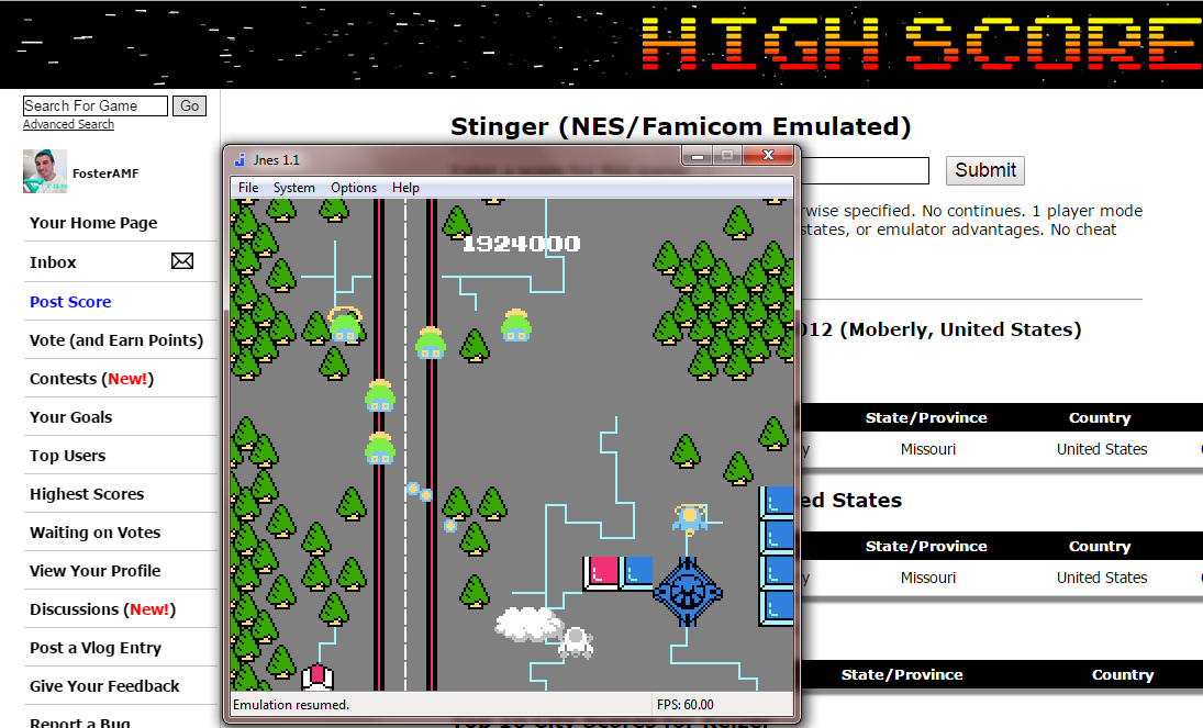 FosterAMF: Stinger (NES/Famicom Emulated) 1,924,000 points on 2014-12-04 03:49:09