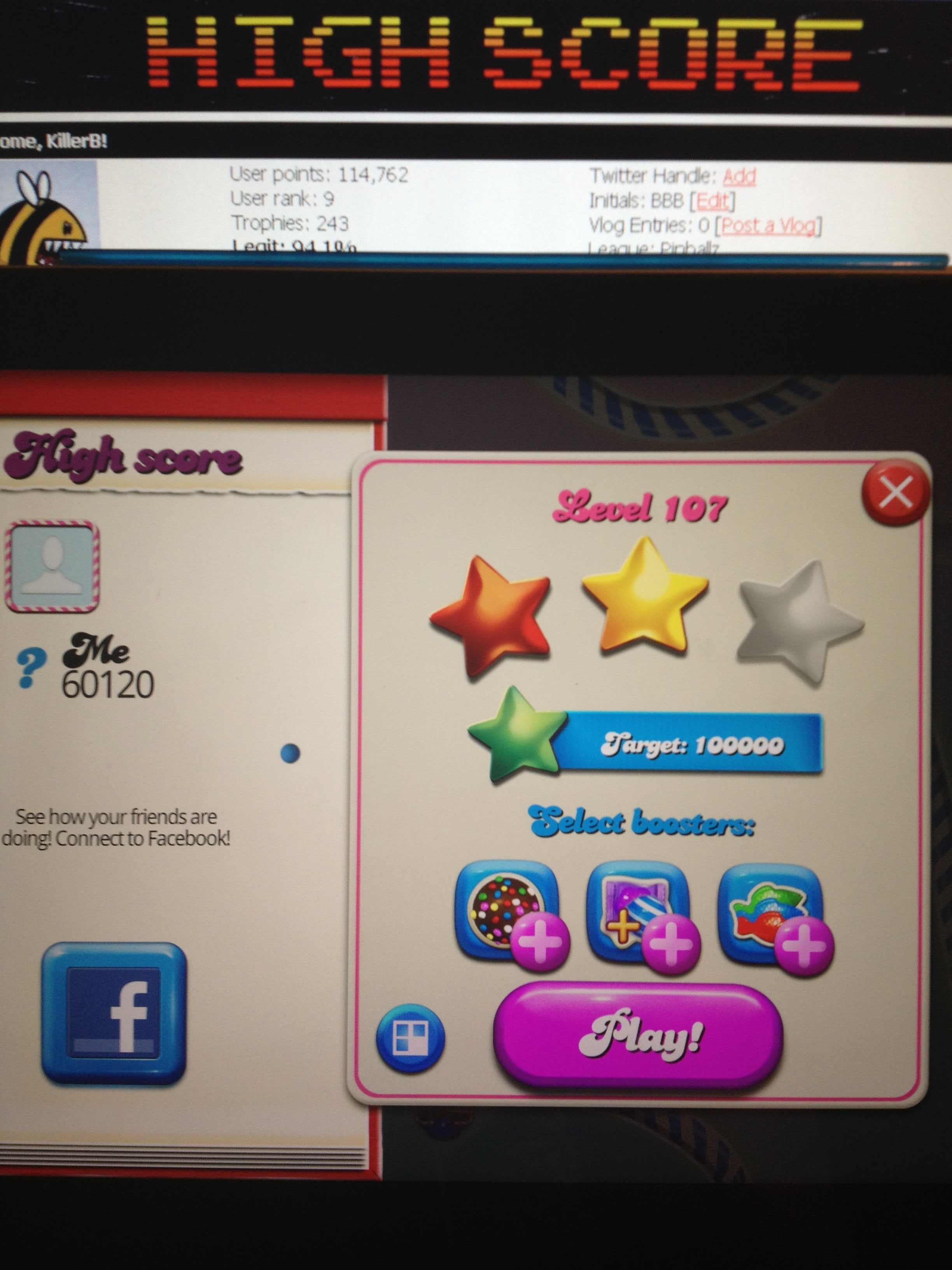 KillerB: Candy Crush Saga: Level 107 (iOS) 60,120 points on 2013-10-15 23:42:20