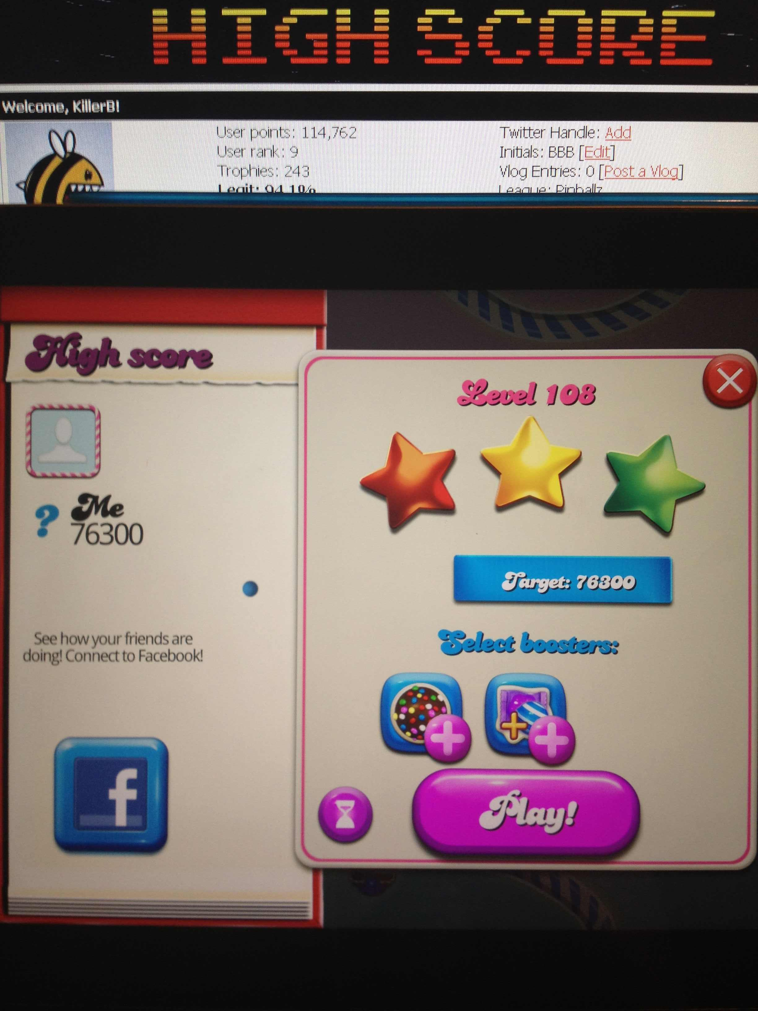 KillerB: Candy Crush Saga: Level 108 (iOS) 76,300 points on 2013-10-15 23:43:02