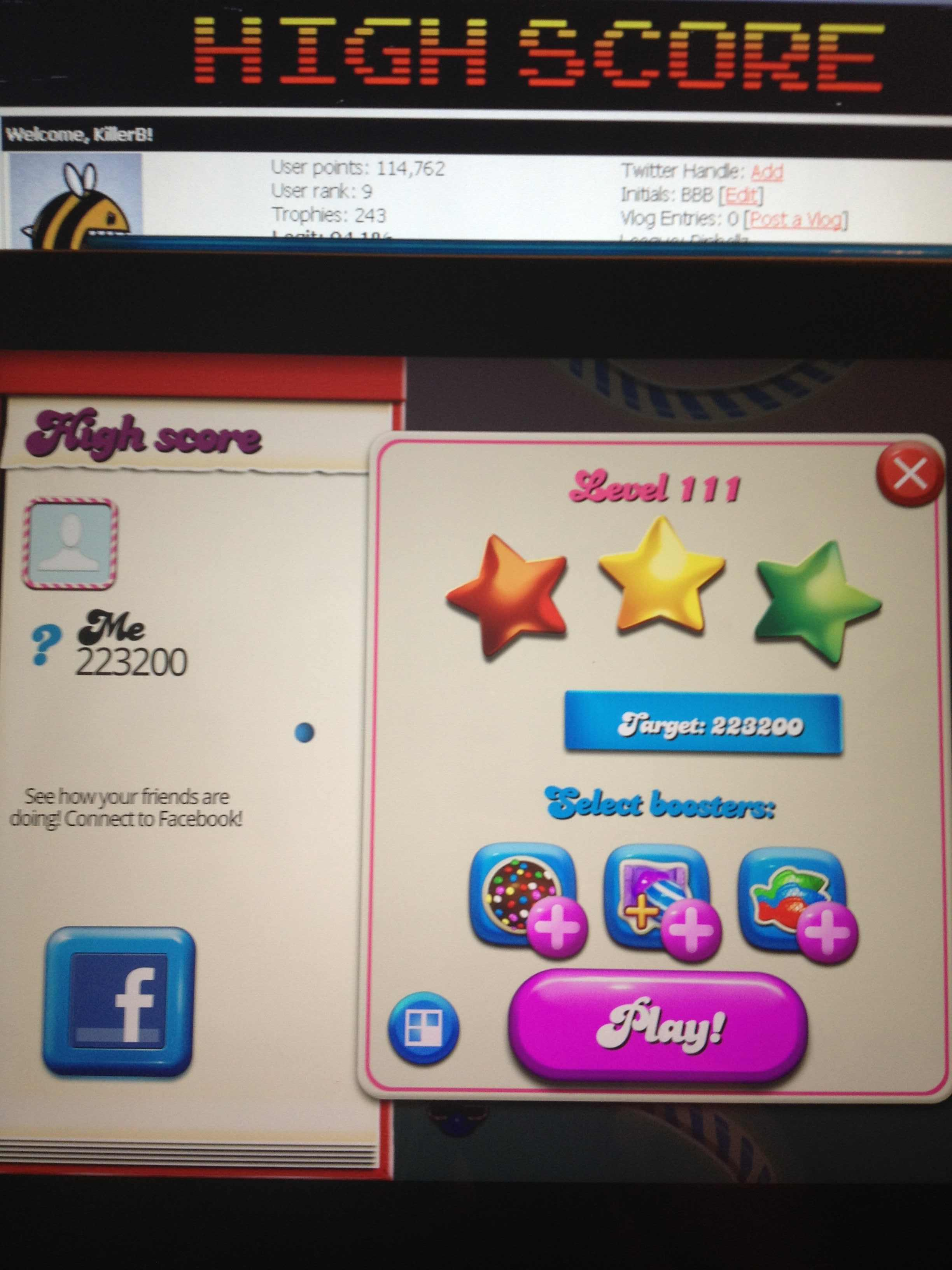 KillerB: Candy Crush Saga: Level 111 (iOS) 223,200 points on 2013-10-15 23:45:19