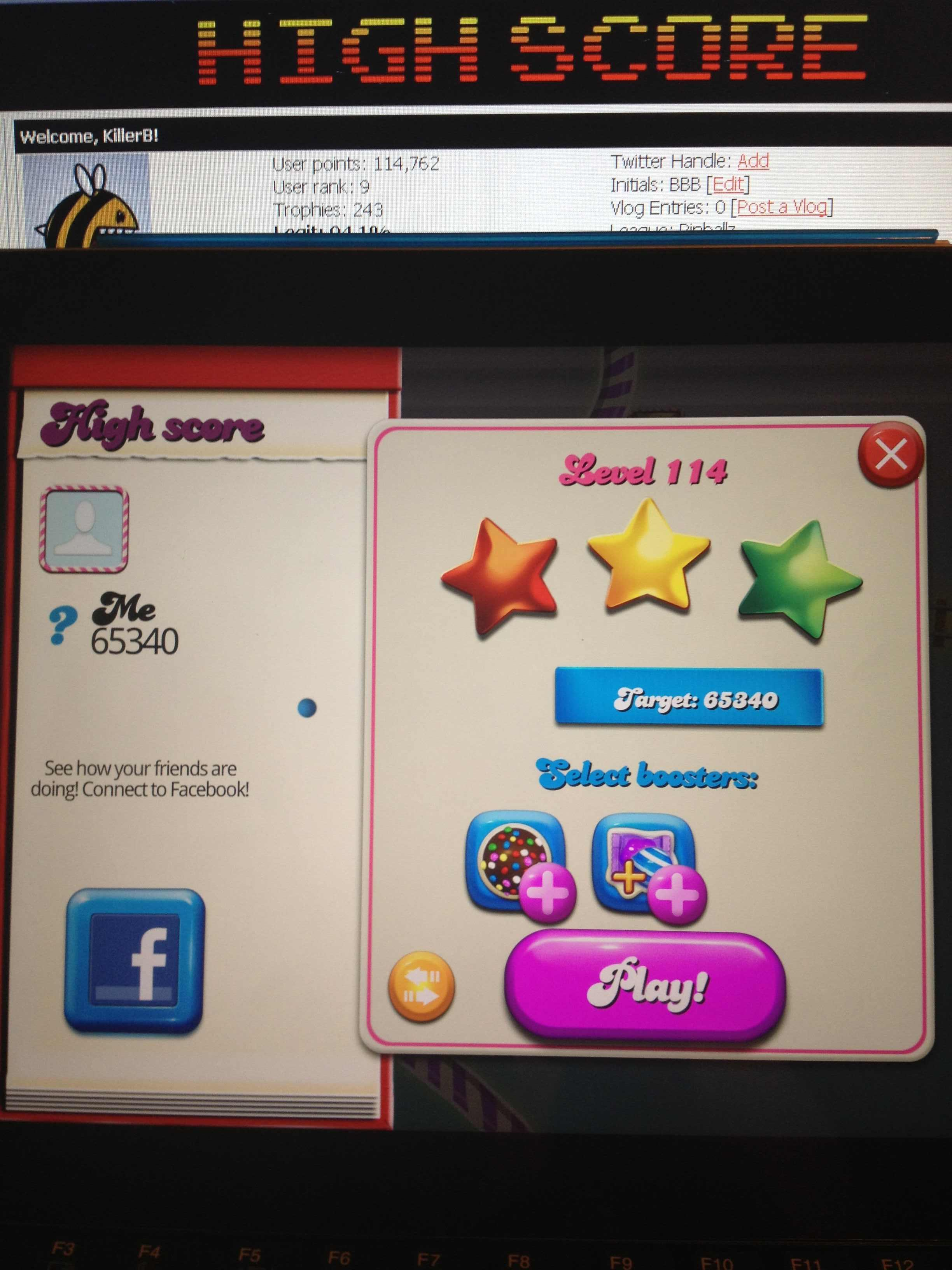 KillerB: Candy Crush Saga: Level 114 (iOS) 65,340 points on 2013-10-15 23:47:40