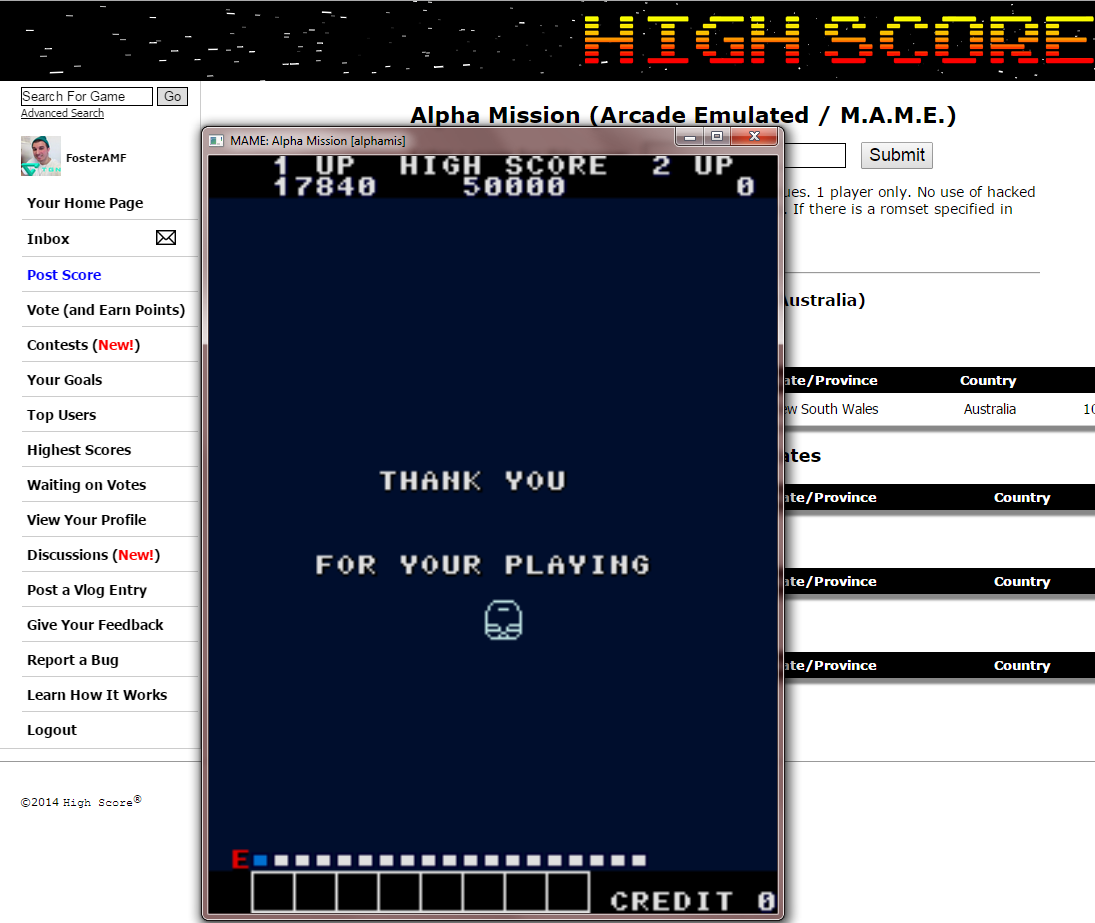 FosterAMF: Alpha Mission (Arcade Emulated / M.A.M.E.) 17,840 points on 2014-12-10 22:47:43