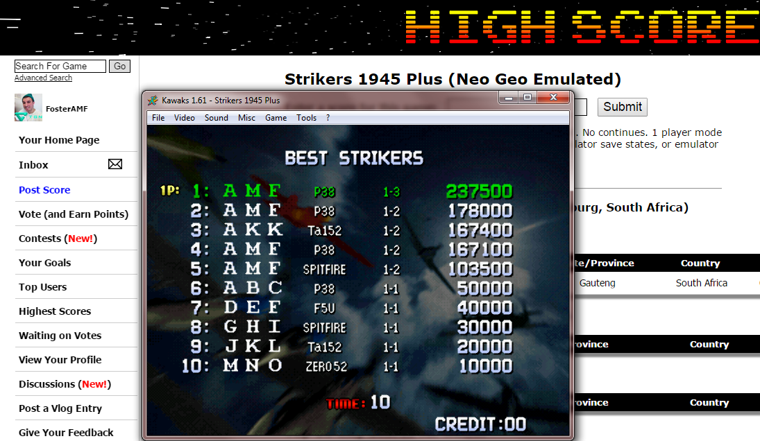FosterAMF: Strikers 1945 Plus (Neo Geo Emulated) 237,500 points on 2014-12-11 00:02:28