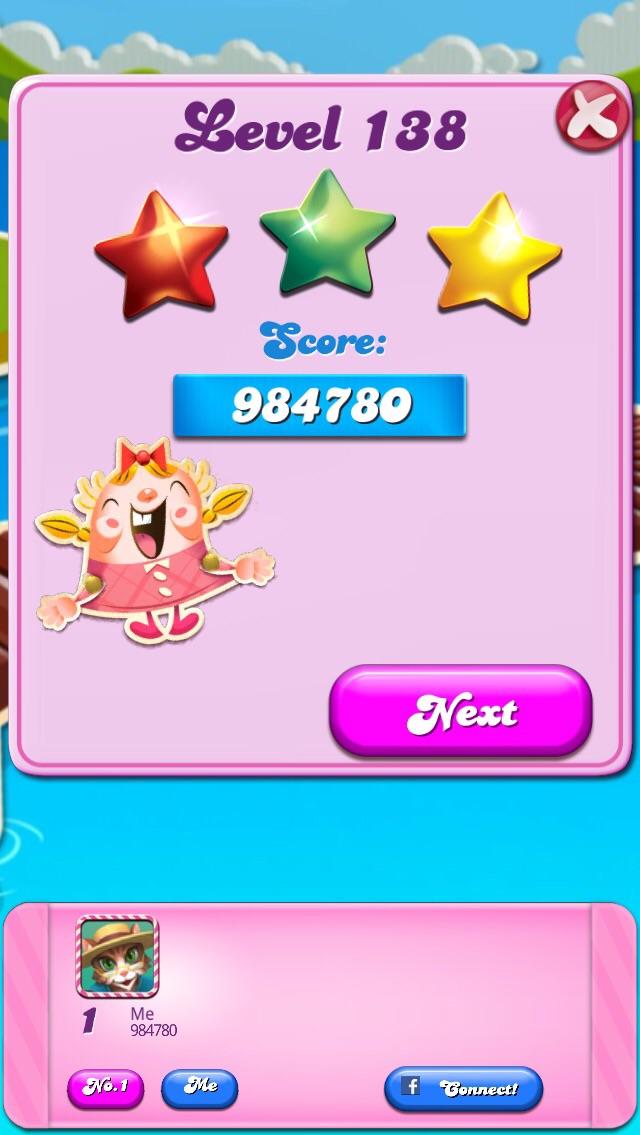 Eweaver: Candy Crush Saga: Level 138 (iOS) 984,780 points on 2014-12-12 18:41:55