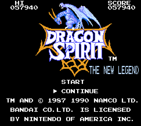 Dragon Spirit 57,940 points