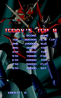BarryBloso: Mazinger Z [World] [mazinger] (Arcade Emulated / M.A.M.E.) 206,900 points on 2014-12-20 06:03:34