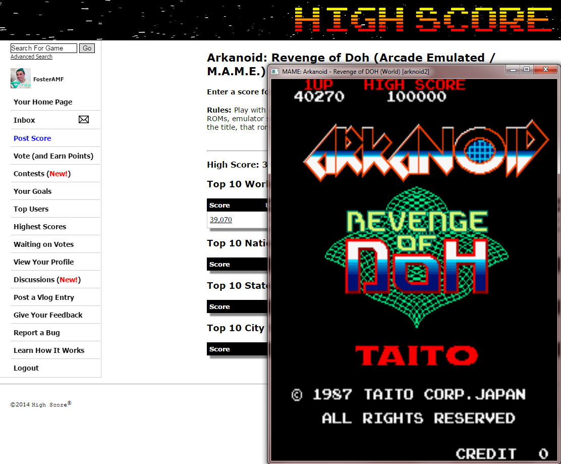 FosterAMF: Arkanoid: Revenge of Doh (Arcade Emulated / M.A.M.E.) 40,270 points on 2014-12-25 13:46:07