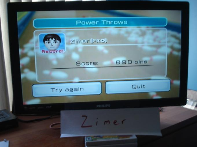 Zimer: Wii Sports: Bowling [Power Throws] (Wii) 890 points on 2014-12-26 13:23:17