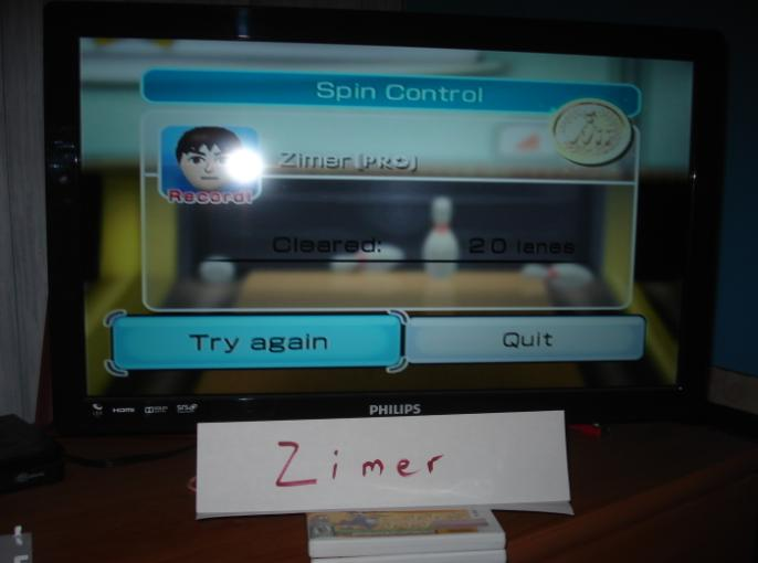 Zimer: Wii Sports: Bowling [Spin Control] (Wii) 20 points on 2014-12-26 13:23:48