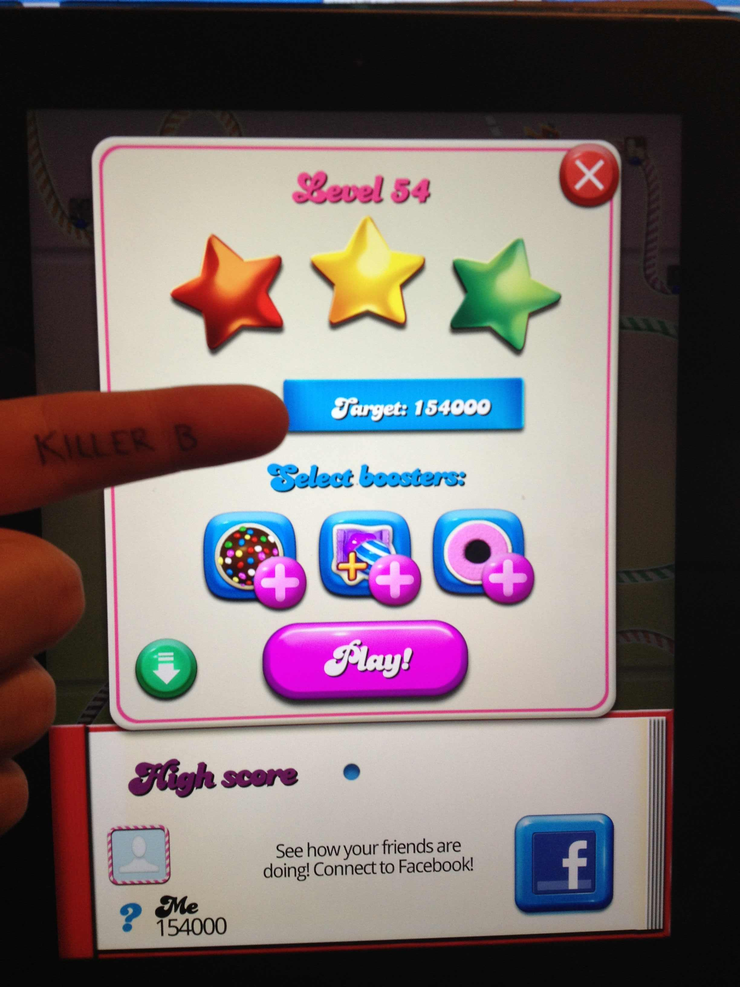 KillerB: Candy Crush Saga: Level 054 (iOS) 154,000 points on 2013-10-17 00:00:34