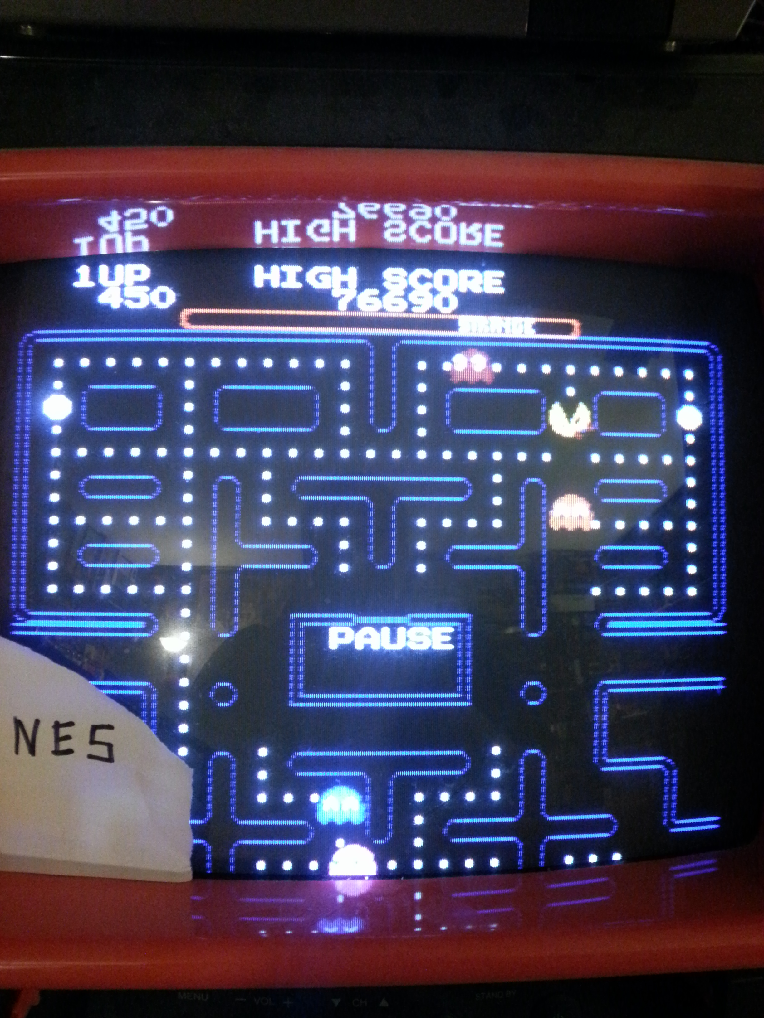Ms. Pac-Man [Tengen] [Pac-Booster: OFF/Difficulty: Normal/Maze Selection: Strange] 76,690 points