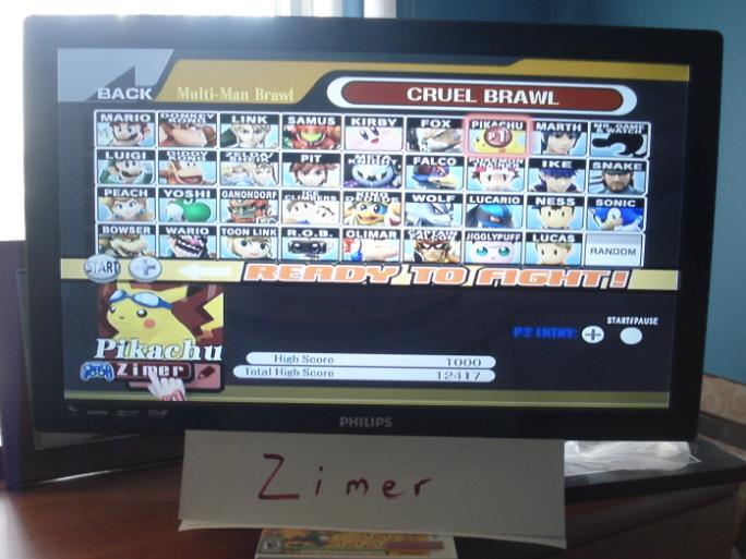 Zimer: Super Smash Bros. Brawl: Cruel Brawl: TOTAL (Wii) 12,417 points on 2014-12-27 09:19:41