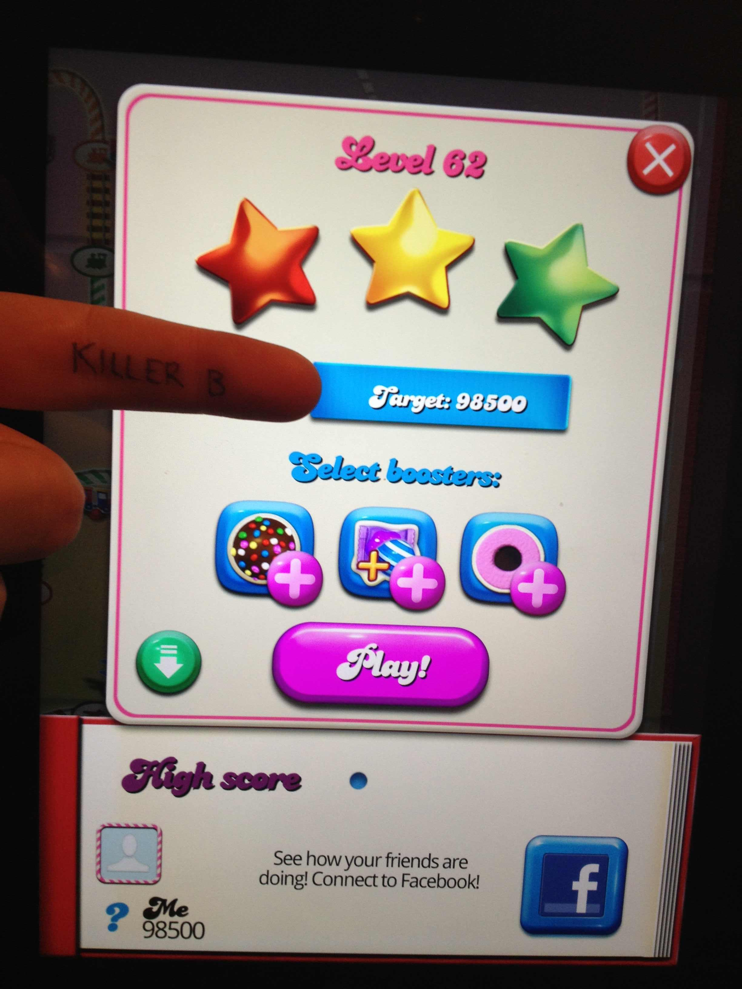 KillerB: Candy Crush Saga: Level 062 (iOS) 98,500 points on 2013-10-17 00:06:06