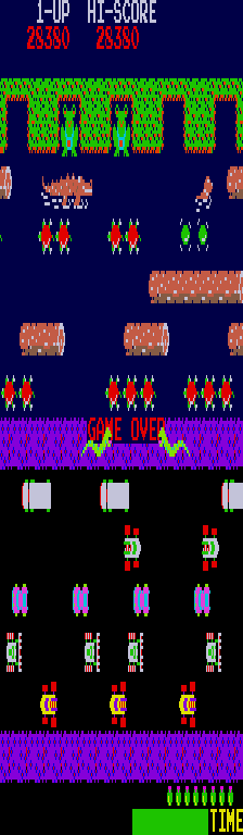 BarryBloso: Frogger (Arcade Emulated / M.A.M.E.) 28,380 points on 2014-12-31 06:37:42