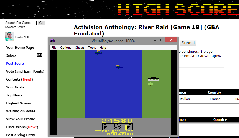 FosterAMF: Activision Anthology: River Raid [Game 1B] (GBA Emulated) 24,580 points on 2015-01-03 21:06:47