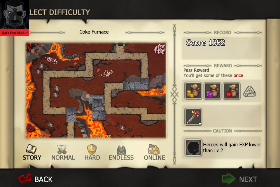 DarkEonMaster: Element Defense: FIRE: Coke Furnace [Story] (iOS) 1,352 points on 2015-01-05 05:03:08