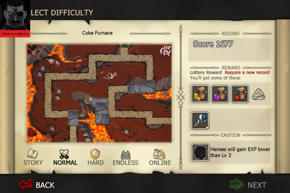 DarkEonMaster: Element Defense: FIRE: Coke Furnace [Normal] (iOS) 1,677 points on 2015-01-05 05:04:08