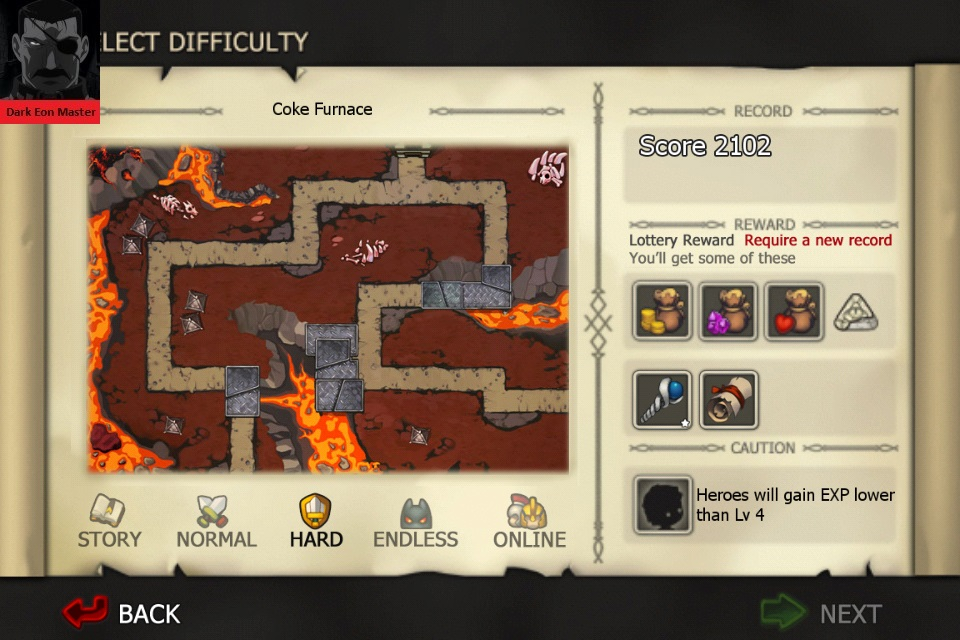 DarkEonMaster: Element Defense: FIRE: Coke Furnace [Hard] (iOS) 2,102 points on 2015-01-05 05:05:20