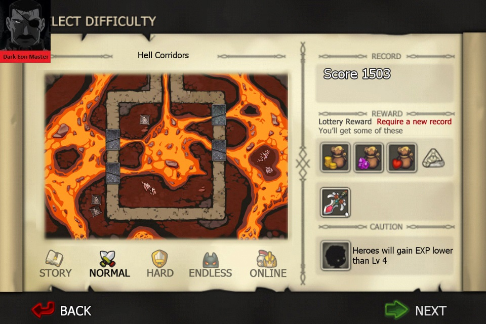 Element Defense: FIRE: Hell Corridors [Normal] 1,503 points
