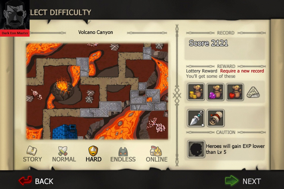 DarkEonMaster: Element Defense: FIRE: Volcano Canyon [Hard] (iOS) 2,121 points on 2015-01-05 05:11:21