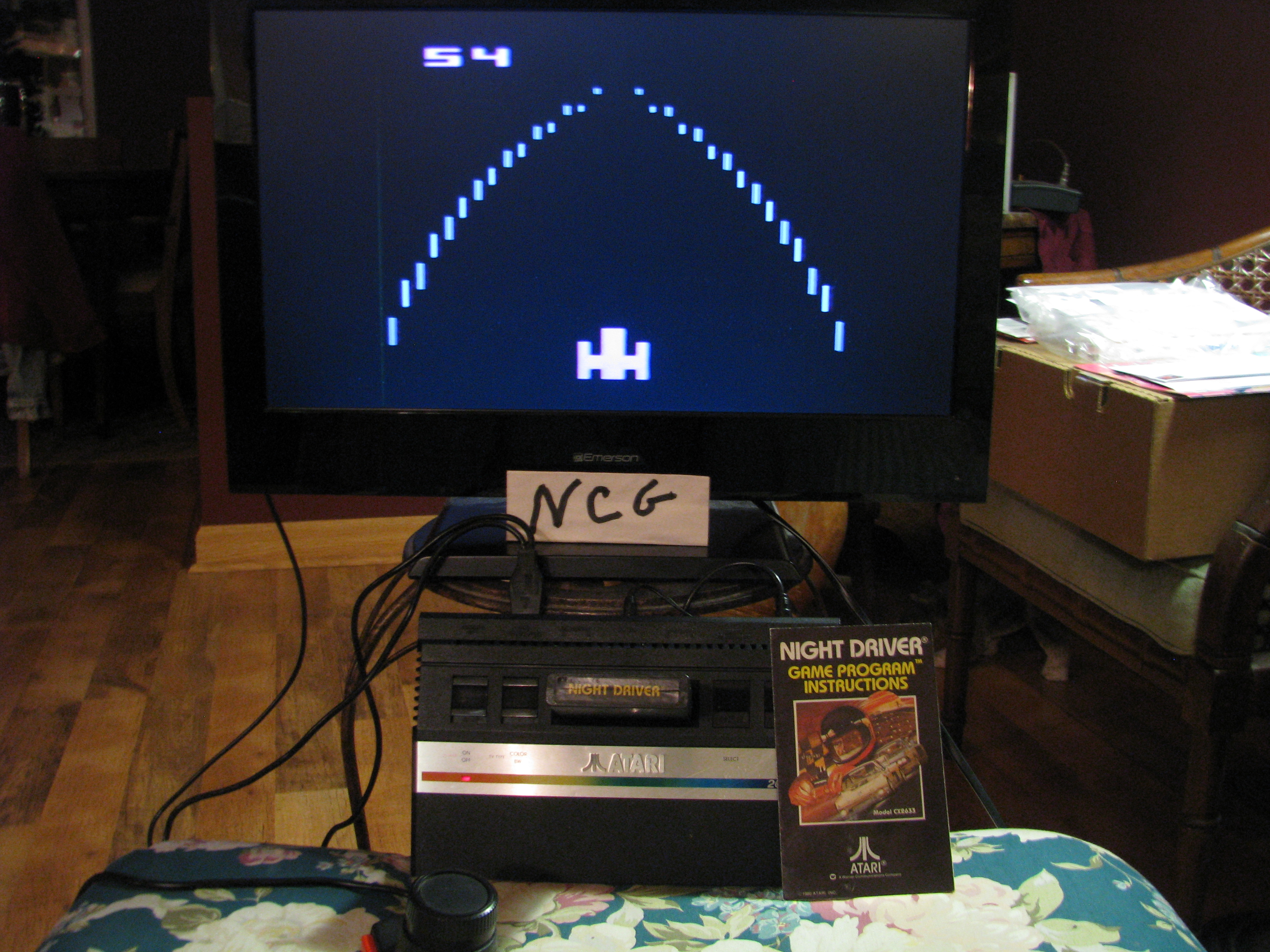 NorthCoastGamer: Night Driver (Atari 2600 Novice/B) 54 points on 2015-01-08 20:13:31