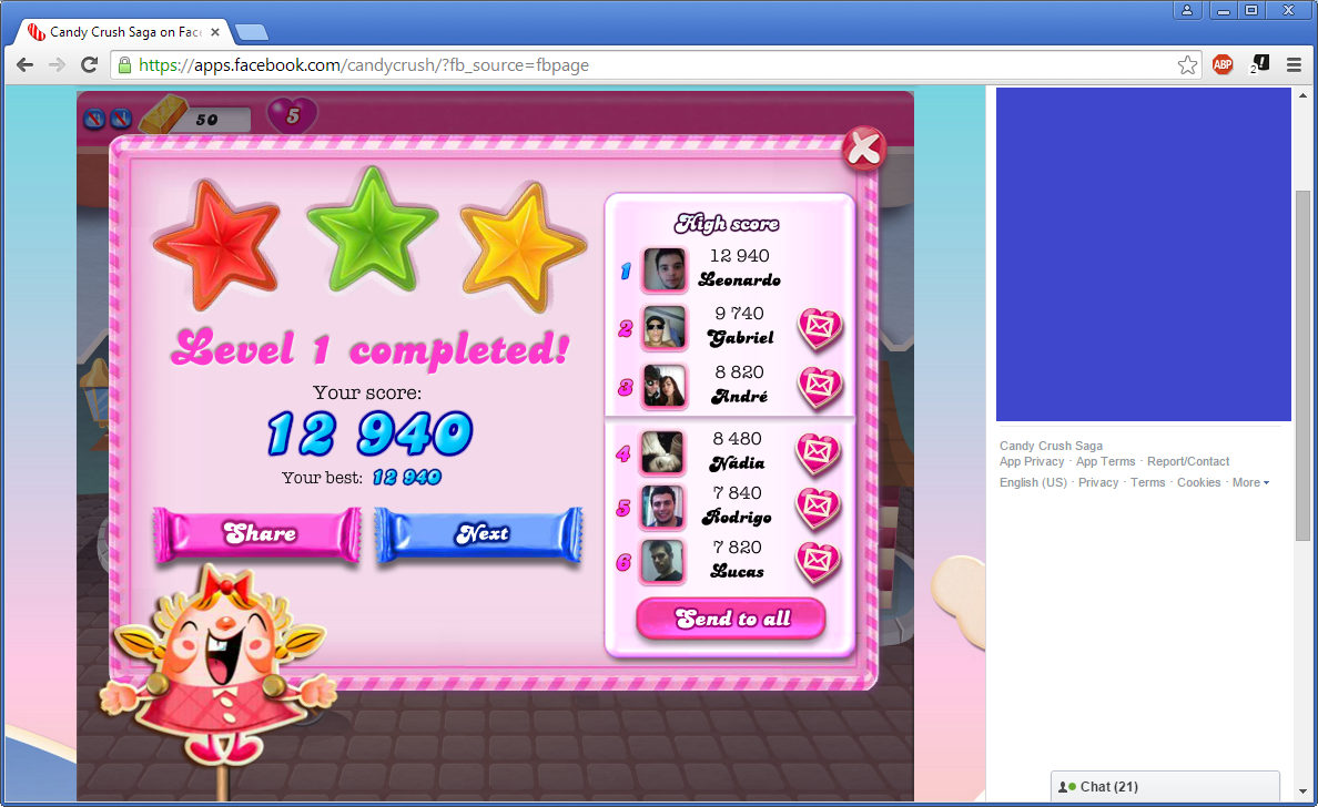LegacyCrono: Candy Crush Saga: Level 001 (Web) 12,940 points on 2015-01-08 21:41:49