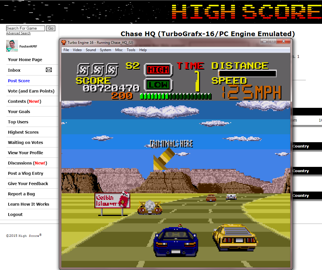 FosterAMF: Chase HQ (TurboGrafx-16/PC Engine Emulated) 720,470 points on 2015-01-14 14:49:00