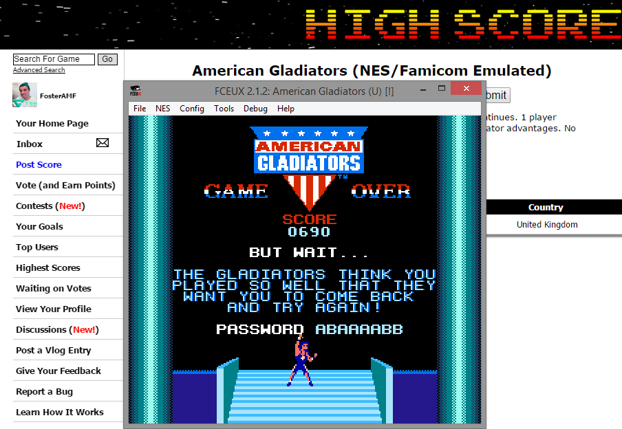 FosterAMF: American Gladiators (NES/Famicom Emulated) 690 points on 2015-01-15 17:53:16